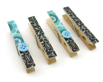 Decorative Clothespin Magnets, Set of 4, Magnetic Clips, Refrigerator, Magnet Clips, Strong Magnets, Buttons, Aqua Blue, Brown, Floral
