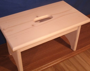 "Wooden step stool with hand hole , unfinished unfinished pine 9"" tall,  16"" long, wooden bench, bathroom stool"
