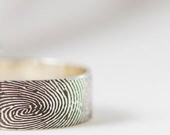 Fingerprint Ring in Sterling Silver • Personalized Fingerprint Ping • Custom Fingerprint Band • Wedding Band • Personalized Gift • RM23