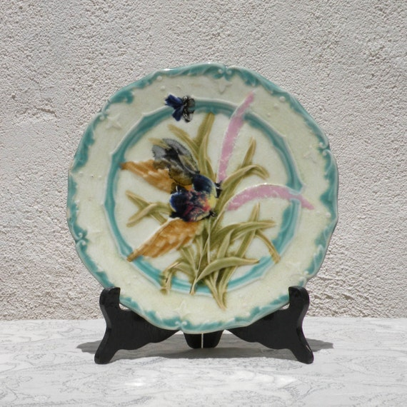 French antique majolica wall plate, glazed vintage wall plate, shabby chic wall plate, French floral wall plate, crazed antique plate