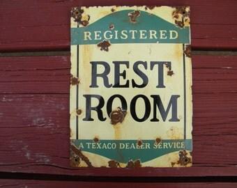 Antique Texaco Registered REST ROOM Porcelain Gas Station sign