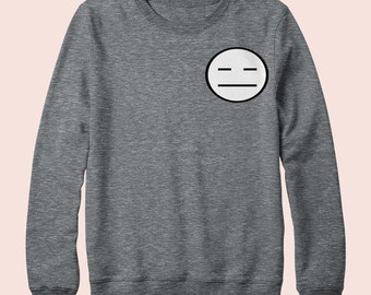 Emoji Meh  - Sweatshirt, Crew Neck, Graphic