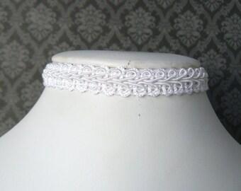 White Lace Choker, Vintage Style Lacy Choker, Victorian Inspired Ribbon Necklace, Plain White Chocker, Lolita Jewelry