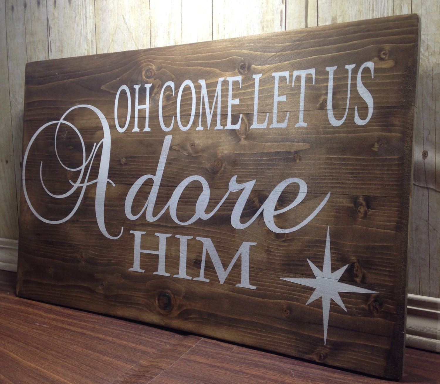Oh Come Let Us Adore Him Wood Signs Christmas Signs Wood: Oh Come Let Us Adore Him Wood Sign/ Christian Wood Sign/