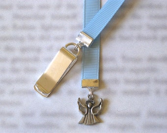 Angel bookmark with clip - Attach clip to book cover then mark the page with the ribbon. Never lose your bookmark!
