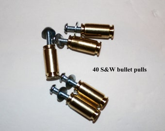 Handcrafted 40 S&W  (10mm ) bullet drawer pulls/cabinet knobs