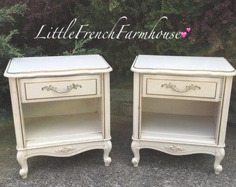CUSTOMIZE ME! Pair French Provincial Night Stands - End Tables or Side Tables Cabriole legs, Appliqué, Drawer + Open Storage, Paint to Order