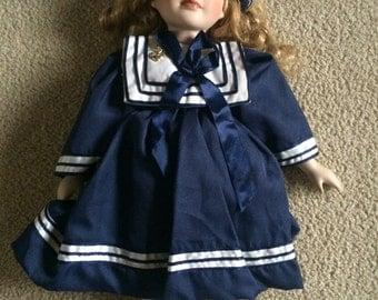 Vtg Antique Sailor Porcelain Doll