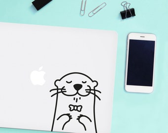 Mini Oscar the Otter Laptop decal / Vinyl Sticker / Tile Decal / Wall Decal / Office decor
