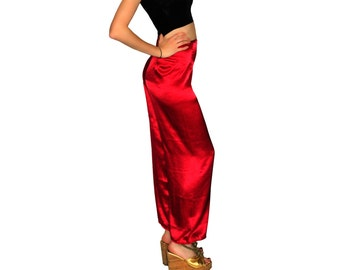 Vintage red satin women pant