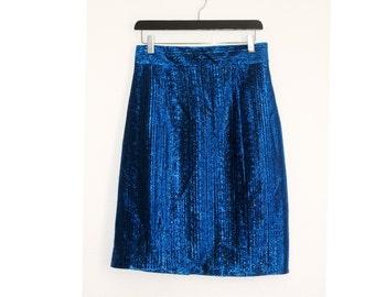 80s vintage pencil skirt / blue high waist shiny skirt