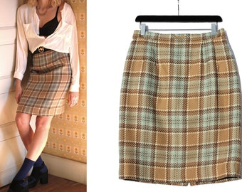 Vintage tartan Skirt / Plaid Skirt / checked skirt / women's clothing / french brand