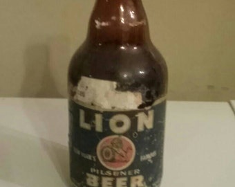 Old Beer Bottle Lions Beer with Label