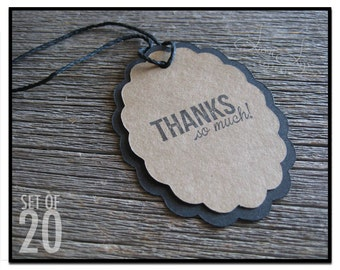 Oval Thanks So Much Gift Tag - set of 20