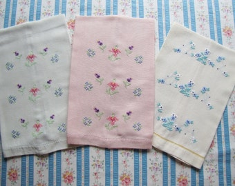 3 Vintage Cross Stitched Embroidered Floral Fine Linen Guest Towels