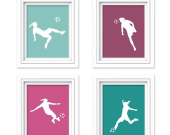 ON SALE Soccer Decor - Girls Room Decor - Soccer Print - Teen Room - Nursery Decor - Children's Room - Playroom Decor - Sports Nursery - Kid
