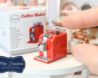 Miniature Coffee Maker (various colors) with coffeebeans inside - handmade Dollhouse 1:12 scale appliance