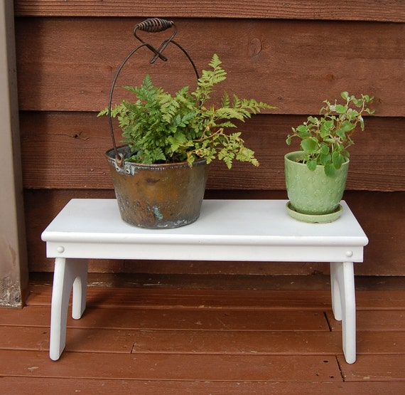 Long Wooden Bench Vintage Painted Wood Step Stool White