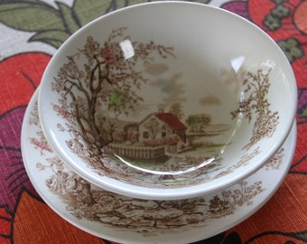 "Vintage 1940s/ 1950' Johnsons of England  ""Spring  "" cereal or desert bowl and bread or side plate"
