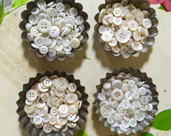 French Pastry Tin Filled with 100 Mother of Pearl or White Milk Glass Buttons