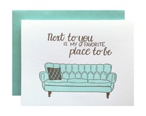 Letterpress Love Card, anniversary, anytime, sweet sentimental, Mid century couch sofa, next to you, mint green brown, hand lettering