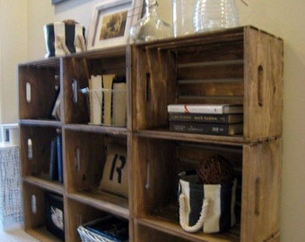 Wooden Crates for Building Shelves - Stackable Wooden Crate for Building Display Shelves - Wood Crate Shelves