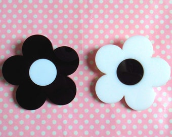 Flower power black and white double layered laser cut brooch