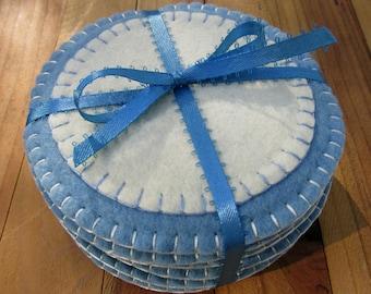 Wool Felt Coasters In Williamsburg Blue & Ivory Set of 6