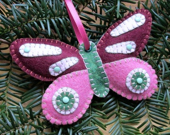 Wool Felt Butterfly Ornament Hanger In Burgundy & Rose