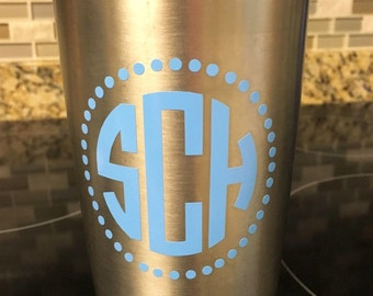 Custom Monogrammed Circle Decal for Tumbler, cups, water bottle, Computer or anything!