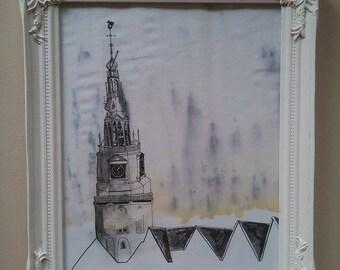Oudekerk, Amsterdam (framed drawing)