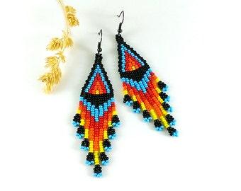 4th July Native beaded earrings - Seed bead earrings with fringe American style beadwoven earrings Traditional folk earrings Dangle earrings