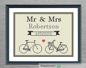 Wedding cross stitch pattern, bikes, customizable, Mr & Mrs, modern pattern, vintage, PDF, DIY ** instant download**