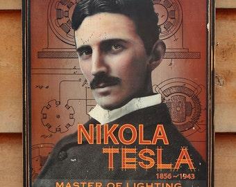 NEW!!** Vintage wooden sign ' Nikola Tesla ' original design concept.