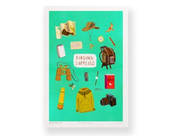 Birding Supplies – A4 Giclée Art Print – Birdwatching chart
