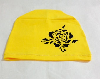 Yellow ROSE beanie - Slouchy beanie - Slouch beanie - Womens beanie - Hat - Printed hat - Spring beanie - Floral print beanie - Roses print