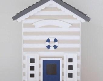 Casita Night Light - Beach Hut - Soft Beige. Handmade. Personalized.