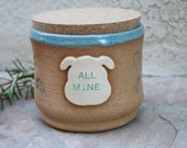 Dog Treat Jar handmade ceramic canister for dog treats dogs cookie jar pet dish pottery pet storage dogs gift for dog lover
