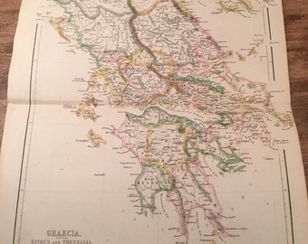 1858 Colored Greece Map Engraving from Long's Classical Atlas