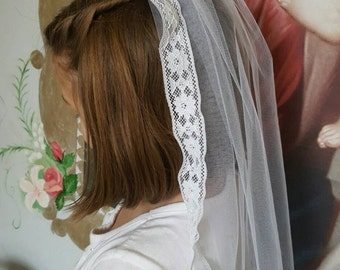 First  Communion Veil with Lace trim Long