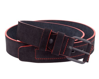 Suede leather belt Mens belts Black with red edges Thick for jeans Brass matte buckle