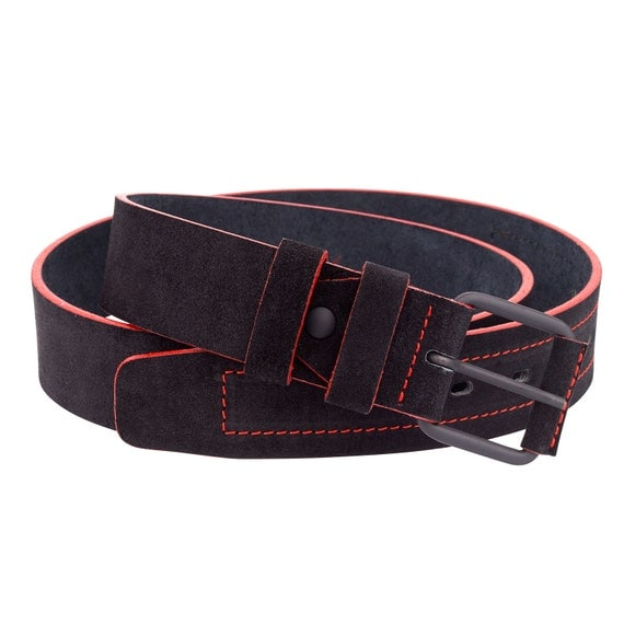 suede leather belt mens belts black with edges thick for