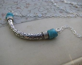 Silver curved bar necklace, Thai silver bar, floral curved tube necklace, bohemian jewelry, turquoise necklace, tribal layering necklace