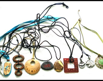 S A L E! 10 PIECE CORD NECKLACE Lot Wide Variety of Styles