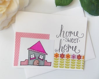 Home Sweet Home Card - Moving Card - New Home Card - New House Card - Housewarming Card - Handmade Card - Floral - Greeting Card