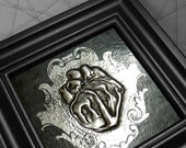 Scroll Heart : hand embossed anatomical repoussé metal wall art