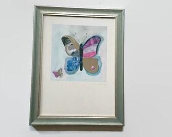 Vintage Cosima art, butterfly art, Cosima Eichendorf, Cosima art, framed butterfly, butterfly in frame, coloured butterfly, blue butterfly