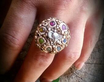 "Ring ""Seven Chakras & the Elefant"". Semiprecious stones and polymer clay. New age. Yoga. Reiki."