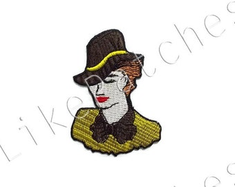 American Lady Star - Yellow Shirt - Brown Hat New Sew / Iron On Patch Embroidered Applique Size 5.3cm.x7.5cm.