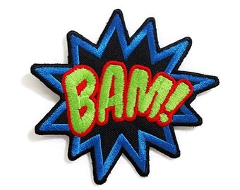 BAM! Comic Cartoon Word New Sew / Iron On Patch Embroidered Applique Size 10cm.x9.5cm.